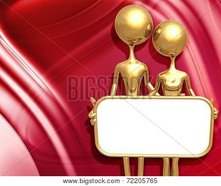 3D Presentation Concept Man & Woman Holding A Sign