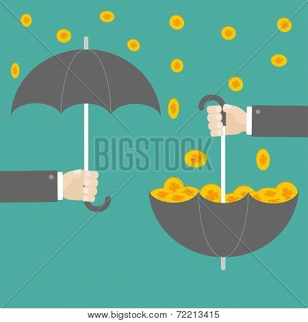 Businessman Hand Holding Umbrella With Success Gold Clover Coin. Flat Design.
