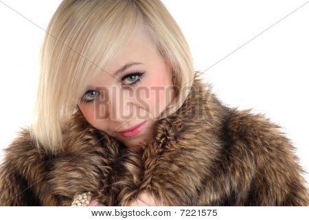 Pretty blond girl and fur