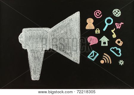 Chalk megaphone with flying icons