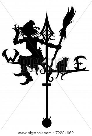 Halloween's Weathervane With Silhouettes Of A Witch And A Cat.