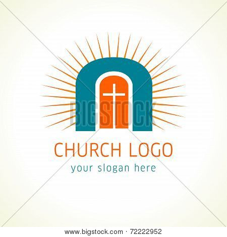 Old arc window, cross and sun vector logo. Christian church colorful icon. Crucifix and sunrise, religious symbol of Jesus is door.