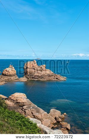 Pink Granite Cliffs In Saint-guirec (france)