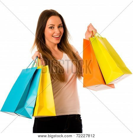 Preety Young Woman With Colorful Shopping Bags Isolated Over White Background