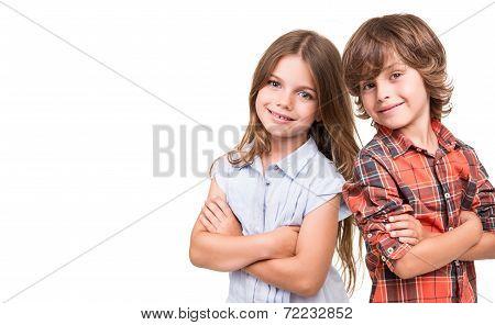 Kids Posing Over White