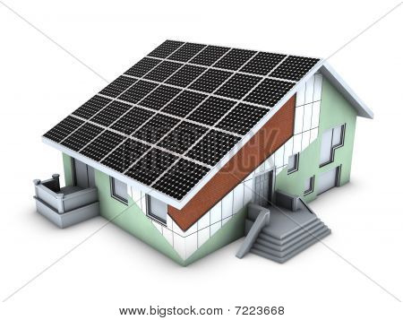 House model with polystyrene block and solar panels