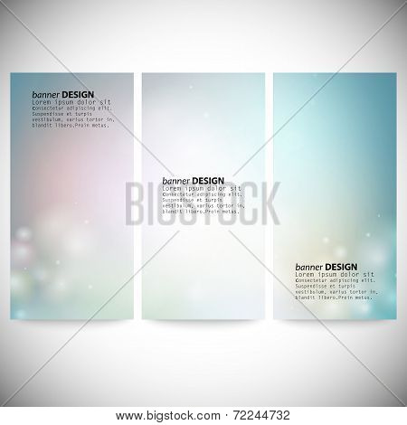Set of vertical banners. Abstract multicolored defocused lights background vector illustration. poster
