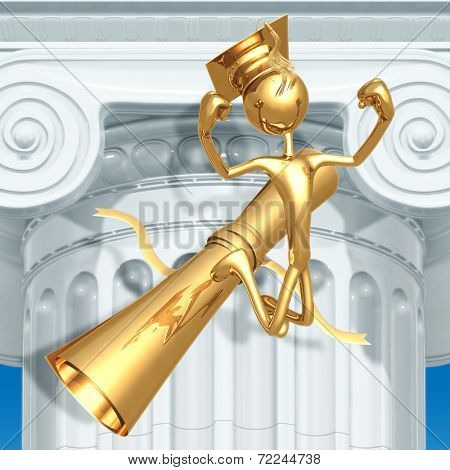 Golden Grad Jumping For Joy Graduation Concept With Diploma