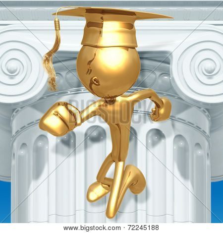 Golden Grad Running Graduation Concept