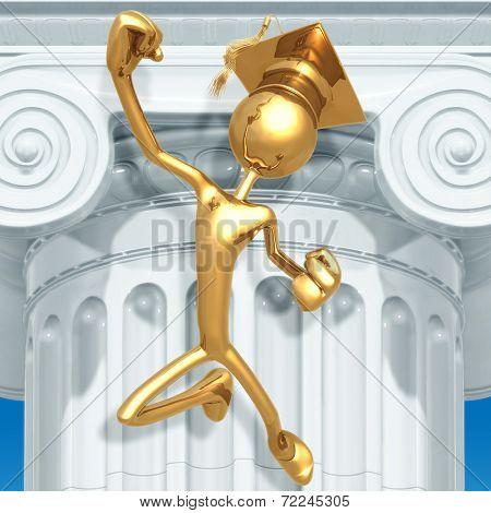 Golden Grad Jumping For Joy Graduation Concept