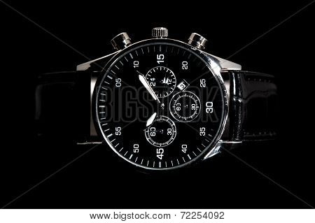 modern watch isolated on a black background