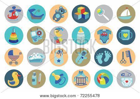 Newborn Baby boy icons set.Baby shower