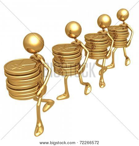 Carrying Stacks Of Gold Yen Coins
