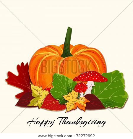 Colorful Autumn Leaf With Pumpkin Background