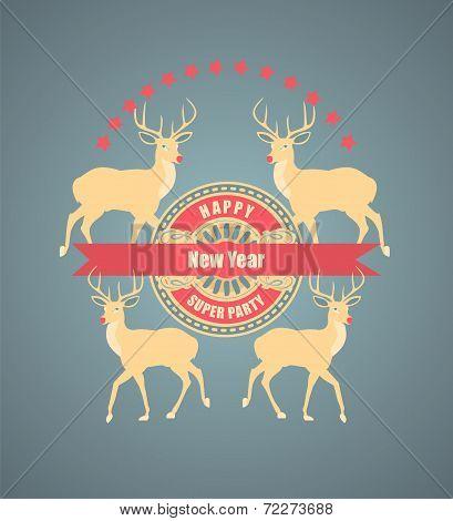 Christmas vintage postcard with deer