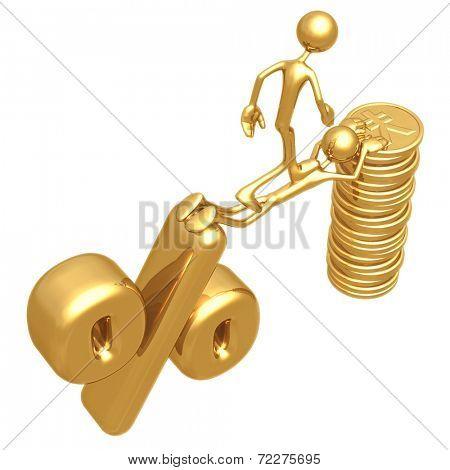 Sacrifice Bridge Between Percentage Symbol And Gold Yen Coin Stack