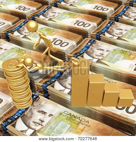 Sacrifice Bridge Between A Bar Graph And A Gold Dollar Coin Stack