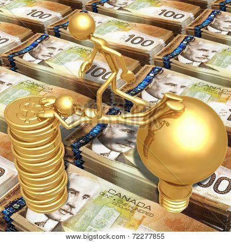 Sacrifice Bridge Between An Idea And A Gold Dollar Coin Stack