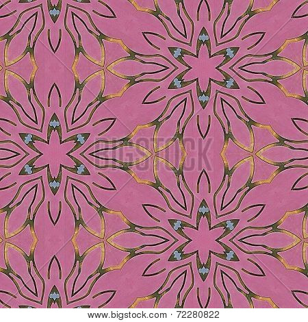 Black, Pink, Blue, Green and Yellow Snowflake Pattern Tiled Background