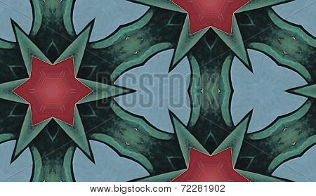 Pink, Green and Blue Star Pattern - Repeatable Seamless Tiled Background