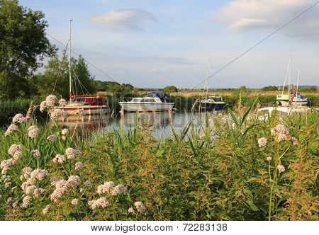 Idyllic River Frome With Sail Boats