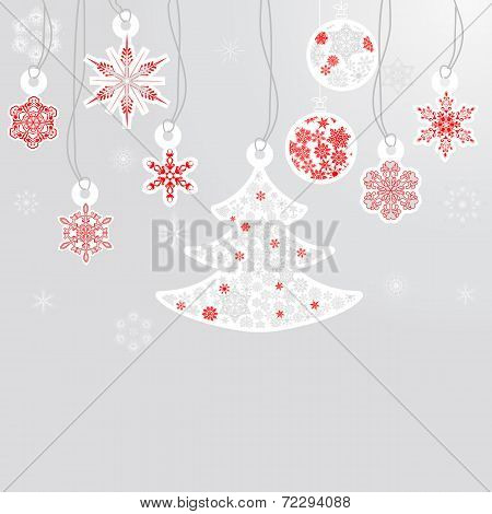 Silver Cristmas Balls And Fir Tree With Snowflakes