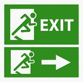 Green exit emergency sign on white vector poster