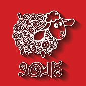Greeting card.2015 Year of Sheep. Vector Cartoon outline curly  sheep with long shadow.Red background.White silhouette. Figures 2015 with.Illustration poster