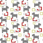 Seamless kids pattern texture with pixel dogs and geometric elements on white background poster