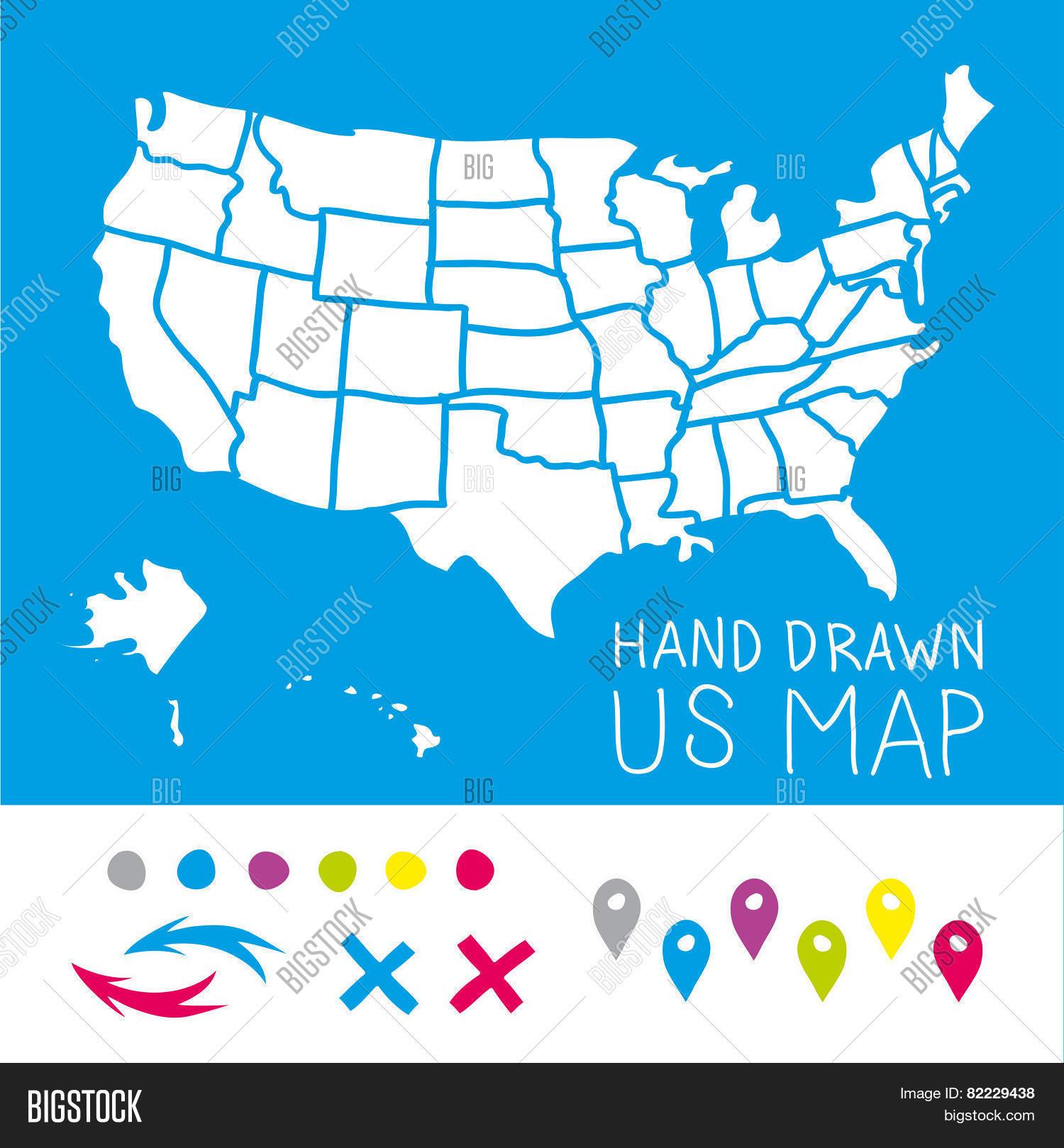 Hand Drawn US Map Vector & Photo (Free Trial) | Bigstock