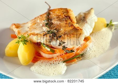 Fried Pike Perch Fillet With Vegetables.
