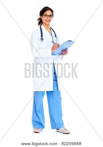 Medical doctor woman isolated white background. Health care.