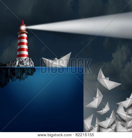 Bad advice concept as a lighthouse with a light beacon falsly guiding paper ships off a cliff as a metaphor for incompetent or fraudulent financial consultation. poster