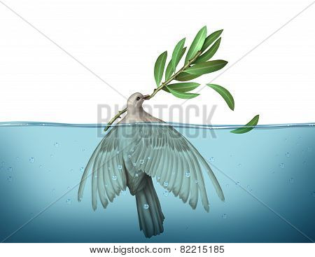 Diplomatic crisis concept as a peace dove drowning in water trying to hold on to an olive branch as an urgency symbol for failed diplomacy to negotiate an end to war. poster