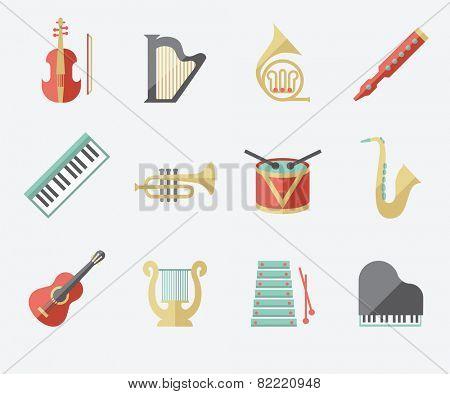 Music instruments set, flat design