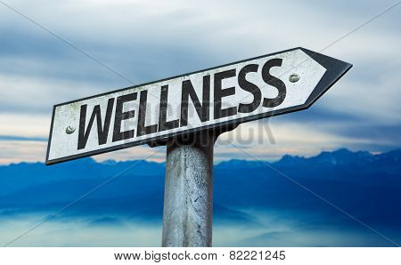 Wellness sign with sky background