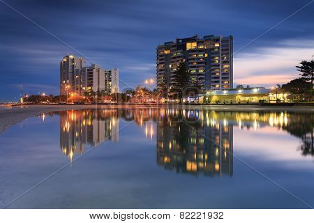 Australian Suburb In Front Of Water At Night