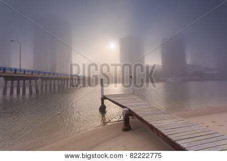 Foggy Morning In The Centre Of Big Modern Australian City