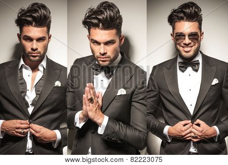 collage image of same young sexy man in tuxedo, unbuttoning his coat and praying