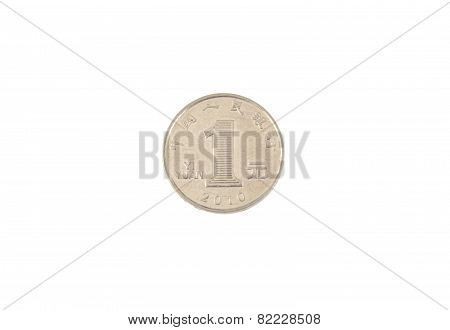 One Chinese yuan coin isolated on white background,