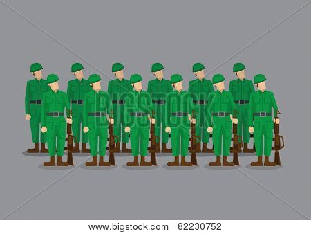 Soldiers Standing At Attention Vector Illustration