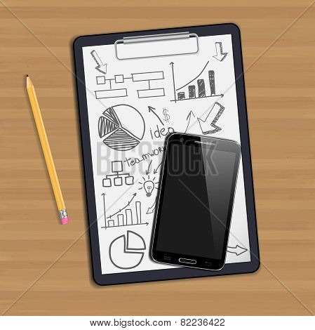 Note paper, With drawing business strategy plan concept idea, Mobile phone newsletter template scree