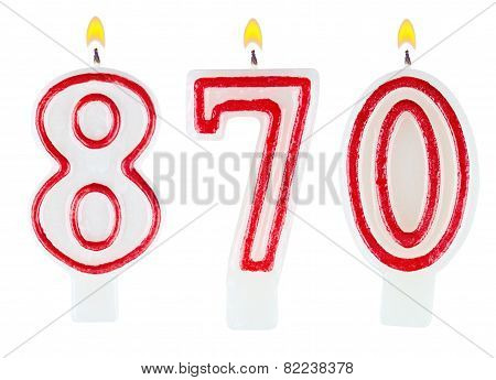 candles number eight hundred seventy isolated on white background poster
