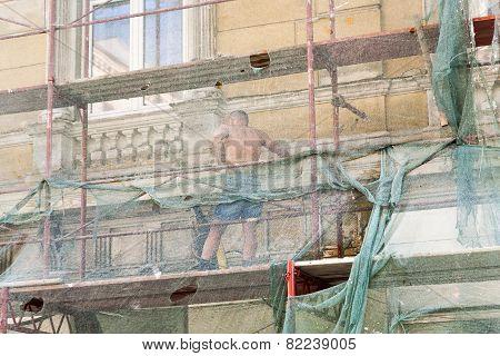 Man Restores Facade Of Buildings Of The 19Th Century