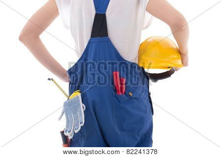 Yellow Protective Helmet In Builder's Hands Isolated On White