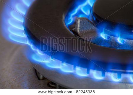 Closeup of a gas burner of a stove