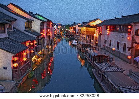 Oil Painting Stylized Photo Of Night View Of Canal In Old Suzhou, China, Oil Paint Stylization