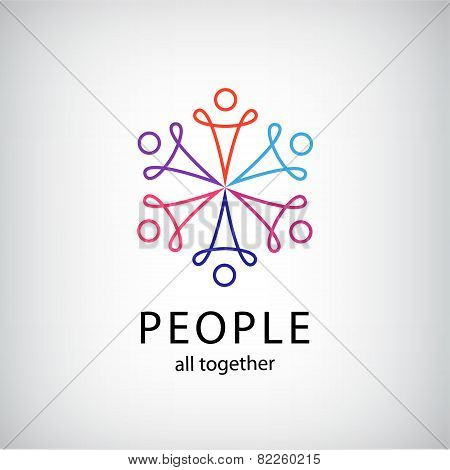 vector teamwork, social net, people together icon, company outline logo isolated poster