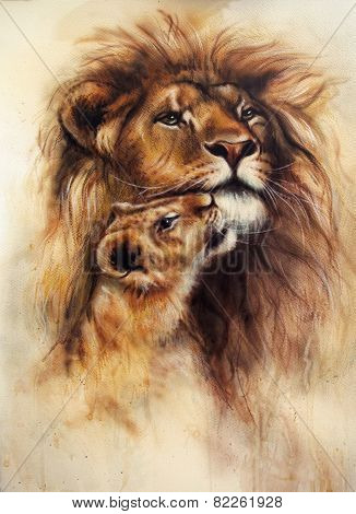 Beautiful illustration  Painting Of A Loving Lion  And Her Baby Cub