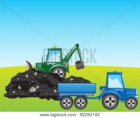 Tractor excavator loads ground